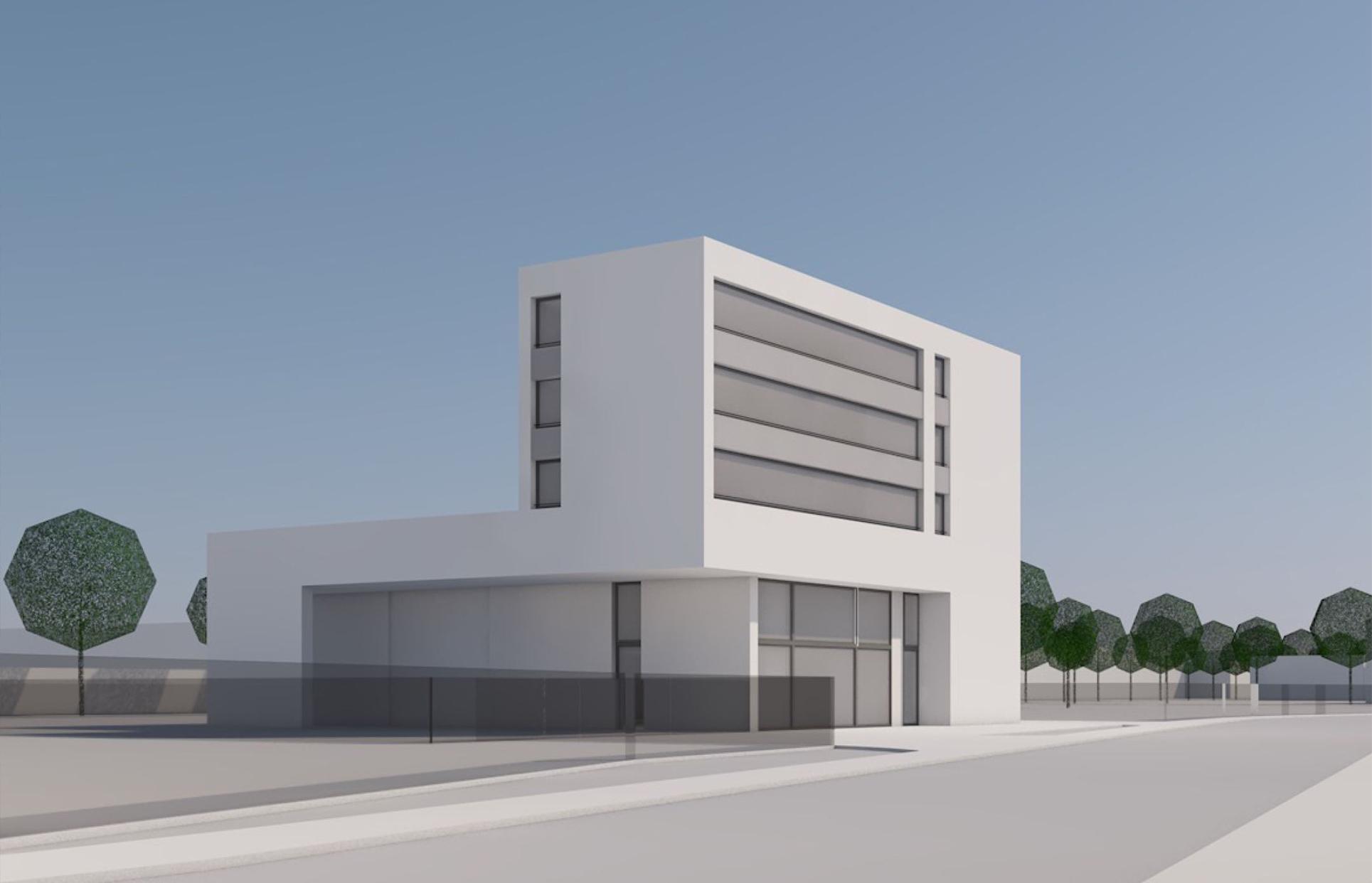 Ausstellungs- und Auslieferhalle mit Büronutzung